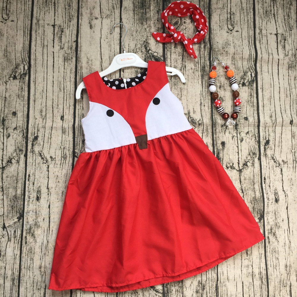 2016 girls summer dress kids party dress children fox dress boutique dress with neaklace and headband