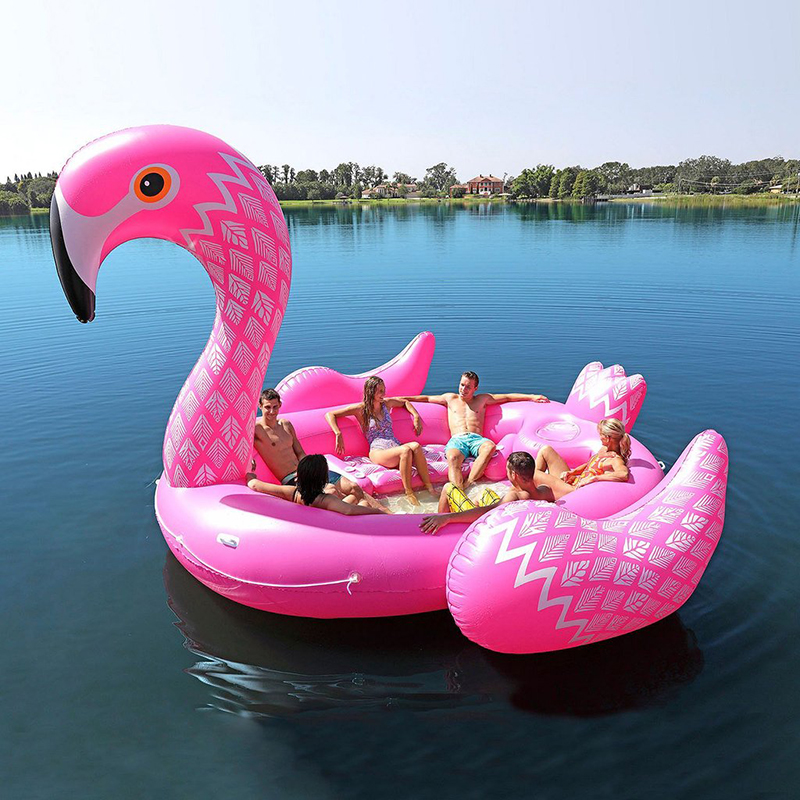 6 Person Huge Inflatable Flamingo Pool Float 2018 New Arrival 530CM Giant Inflatable Swimming Pool Island Lounge Pool Party Toys