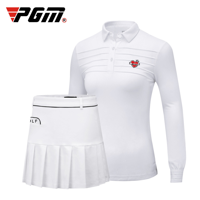 Pgm Golf Women Clothing Set Ladies Golf/Tennis Suit Long Sleeved Collar Shirts Pleated Safe Skirts Quick Dry Skirts Set D0495Pgm Golf Women Clothing Set Ladies Golf/Tennis Suit Long Sleeved Collar Shirts Pleated Safe Skirts Quick Dry Skirts Set D0495