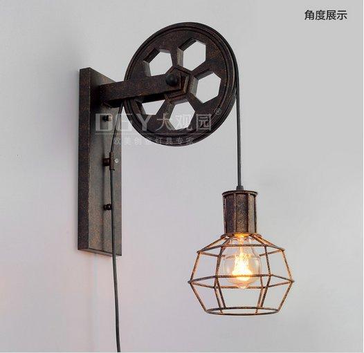 Retro Vintage Industrial Elevador Roldana de Ferro
