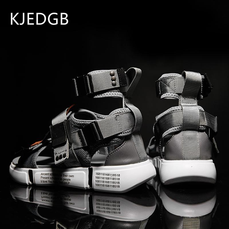 KJEDGB New 2019 Fashion Summer Mens Shoes Gladiator Sandals Designers Platform Comfortable Beach Sandals Male Canvas Men Sandals(China)