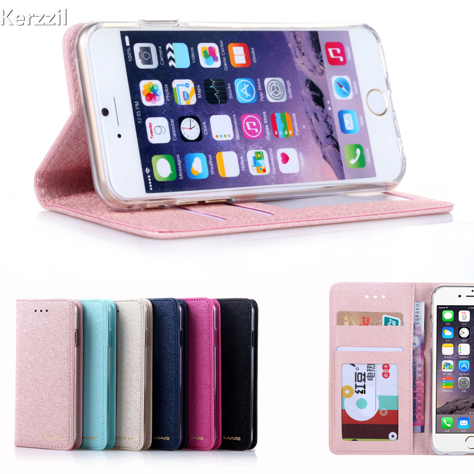 Kerzzil Luxury Stand Flip Silk Pattern Case For iPhone 7 6 6S 8 Plus Built-in Card slot PU Leather Cover Back For iPhone X 7 6S