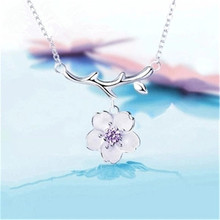 925 sterling silver Pendant necklace Lovely cherry blossom Womens fashion jewelry wholesale