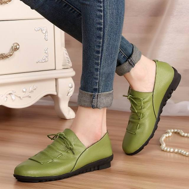 Women Genuine Leather Shoes Moccasins Women's Soft flat heel casual shoes comfortable Flats women's shoes free shipping