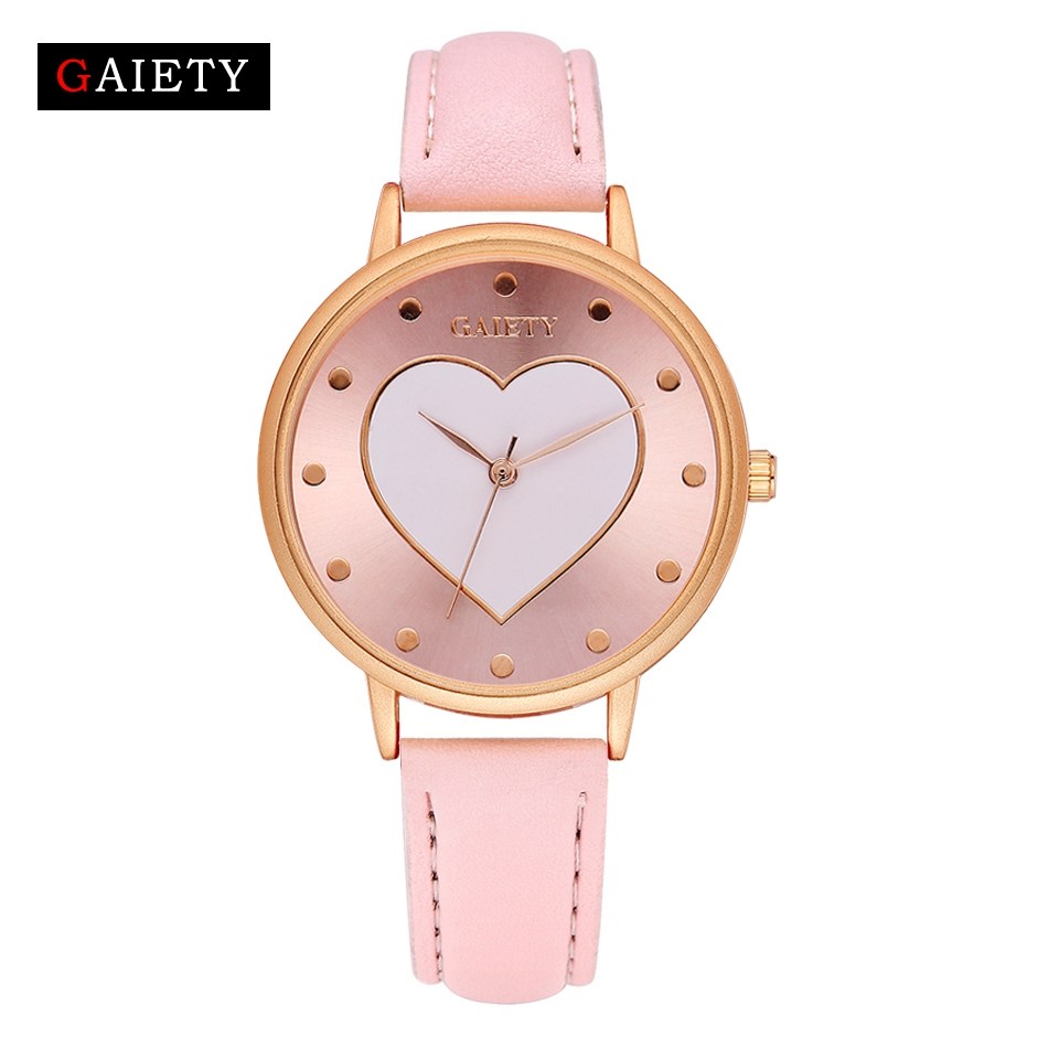 Gaiety Brand New Watch Women Girl Heart Leather Wristwatch Casual Sport Rose Gold Fashion Female Crystal Luxury Quartz Watches