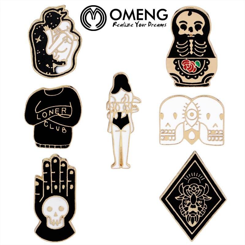 2018 New Fashion Hard Enamel Pins Goth Punk Skull Brooch