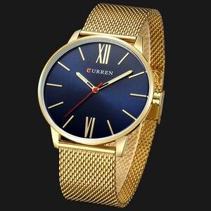 Image 3 - Moda złoty zegarek męski Curren zegarki kwarcowe pełne nierdzewne pasek stalowy Relogio Masculino prosty zegarek na rękę