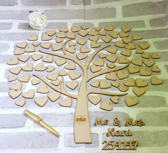 Livre d'or de mariage personnalisé, livre d'or rustique, livre d'or de mariage arbre de coeur, cadeau de mariage en bois