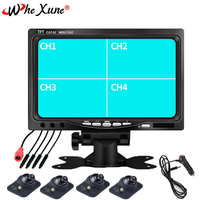 WHEXUNE 7 inch Car Monitor Reverse parking monitor 4 split screen input Remote control,Front/Left/Right/Rearview camera optional
