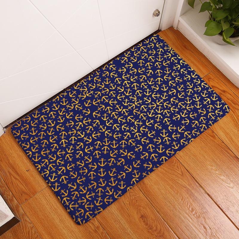 Soft Flannel Marine Sea Boat Anchor Printed Door Mat Floor Mat Bathroom Kitchen Carpets Doormats Anti-slip Rug Tapete
