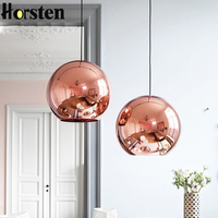 Horsten Nordic Home Globe Glass Pendant Lamp Silver Gold Copper Color Dinning Room Living Room Light