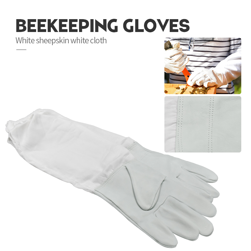 Beekeeping Gloves Protective Sleeves Ventilated Professional White Sheepskin And Cloth For Apiculture  Beekeeping Gloves