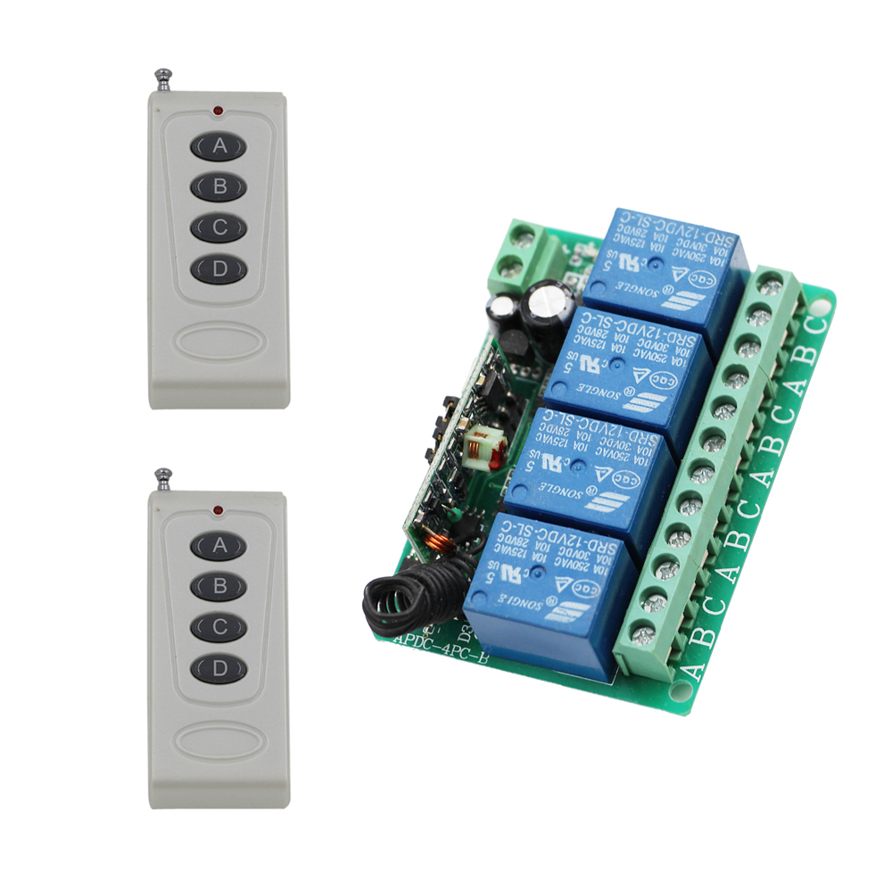 DC12V 10A 4CH Radio Controller RF Wireless Relay Remote Control Switch System 315 MHZ 433.92 MHZ 2pcs Transmitter and Receiver