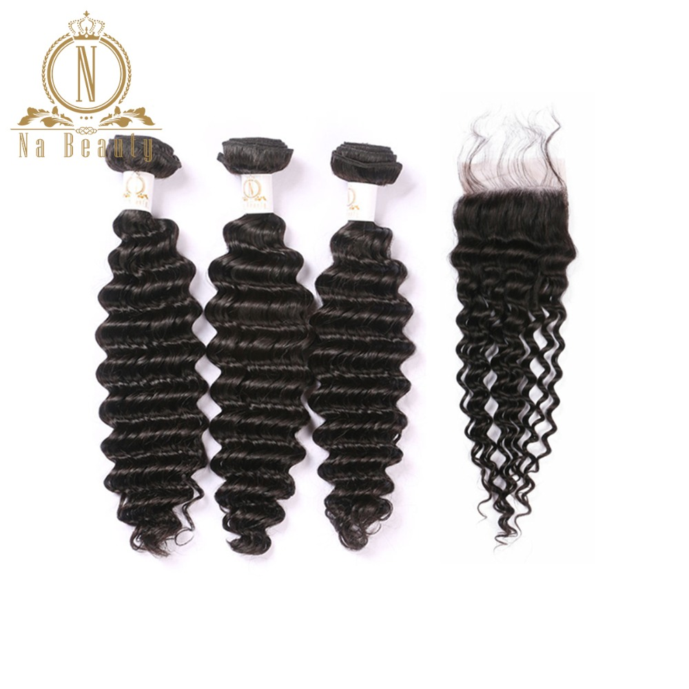 Brazilian Human Hair Deep Wave 3 Bundles With Closure Free Part Remy Hair Natural Color Human Hair Extensions Free Shipping