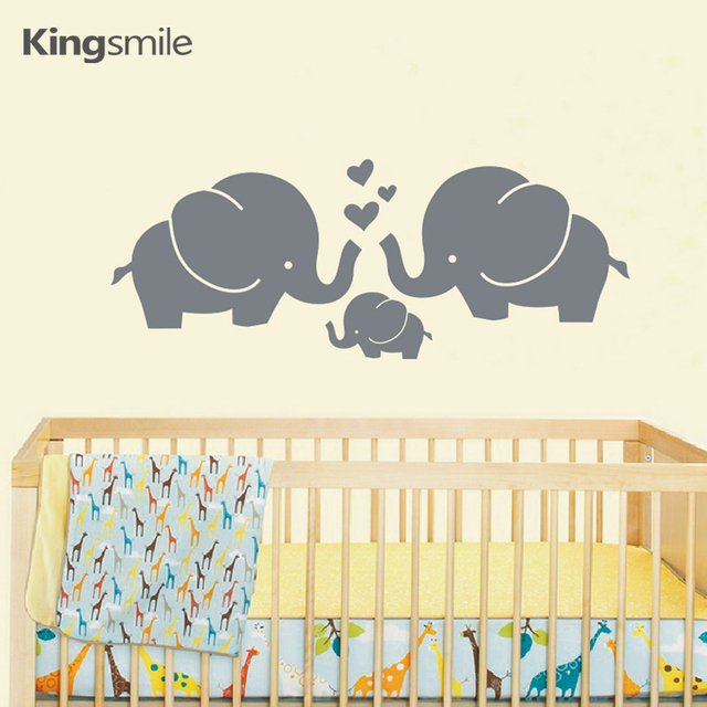 Modern Elephant Family Hearts Wall Stickers Vinyl PVC Nursery Wall Art  Decals Baby Kids Rooms Decoration
