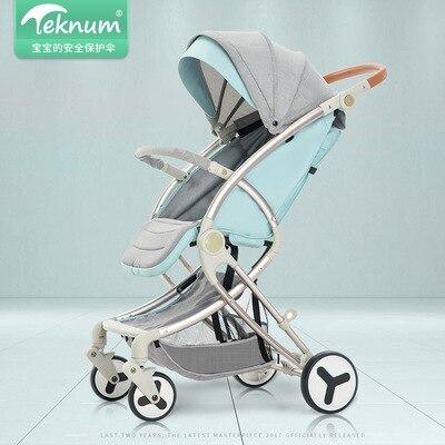 Alliage d'aluminium Fourwheel Bébé StrollerCan S'asseoir Inclinable Pliant Léger Bébé Enfant Portable Haute Paysage Parasol Push
