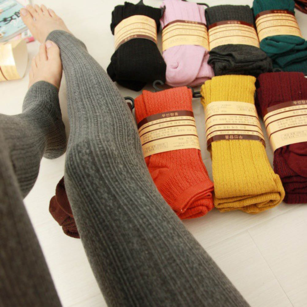 Warm Tights Winter Cotton Vertical Pattern Candy Colors Thermal Dress Pantyhose For Winter Spring Free Size