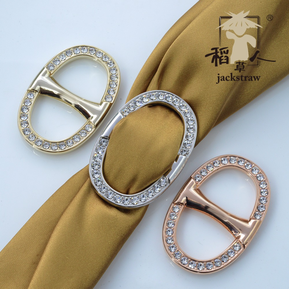 Jackstraw scarf buckle rose gold date button ring scarf buckle Shawl Ring clip Scarve Fastener Jewelry Gift(China)
