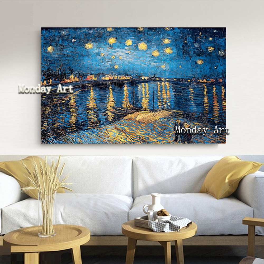 KKK Elegant-Poetry-Starry-Night-on-the-Rhone-River-by-Vincent-Van-Gogh-Famous-Artist-Art-Print