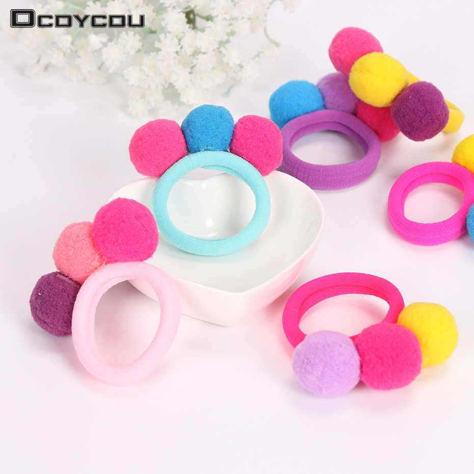 6PCS New Cute 3 Balls Elastics Hair Holders Bands Gum Fashion Kids Candy Rubber Bands Headwear Girl Hair Accessories 10pcs lot candy fluorescence colored hair holders high quality rubber bands hair elastics accessories girl women tie gum