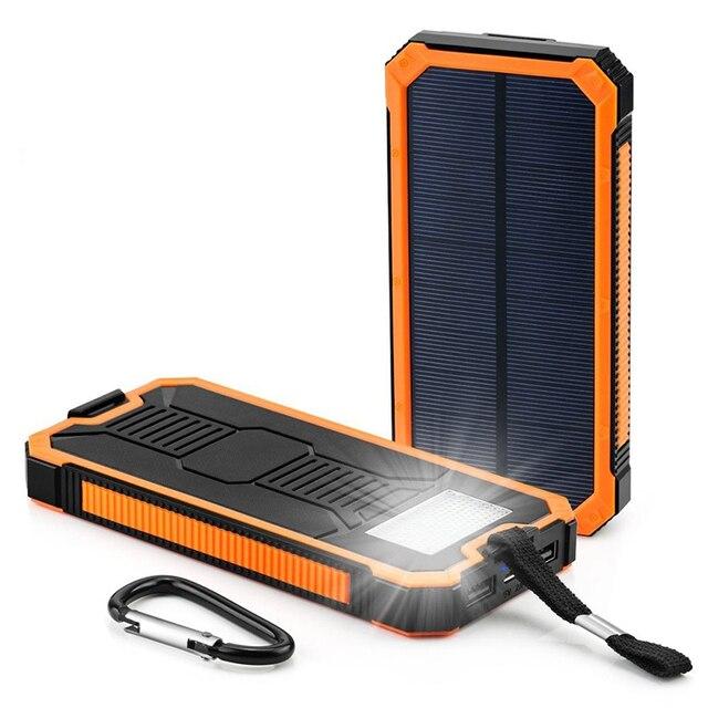 7e851b1521c Venda QUENTE 20000 mah Carregador Solar Portátil Bateria Externa À Prova D'  Água LEVOU Ao