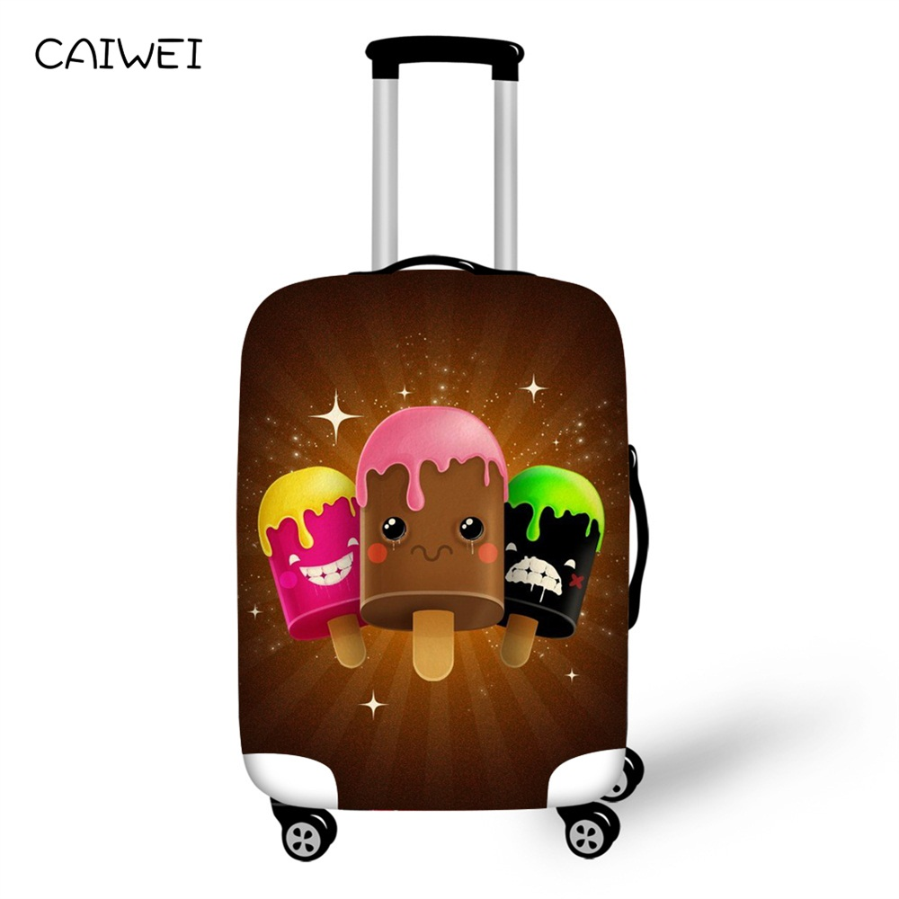 Summer Luggage Covers Travel Suitcase for Child 18-28 Inch Ice Cream Valise Luggage Protective Cover Elastic Travel Accessories