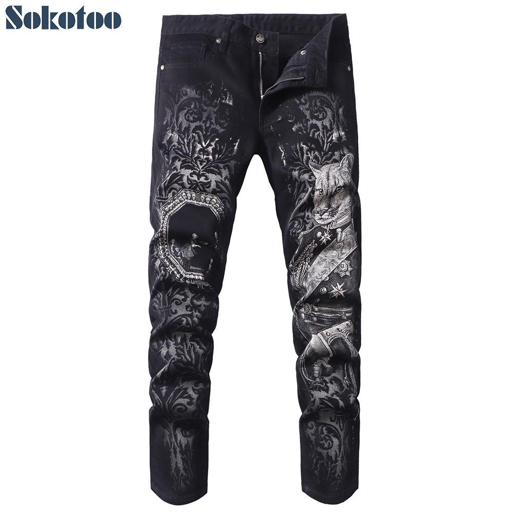 Sokotoo Men's Black Beast Head Printed Jeans Fashion 3D Painted Slim Fit Straight Denim Pants