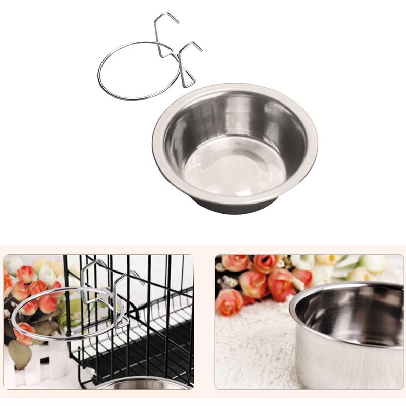 13*8*4 CM Stainless Steel Hanging Pet Cage Bowl Diner Pet Bowl Bird Cat Dog Food Water Bowl with Hanger P10