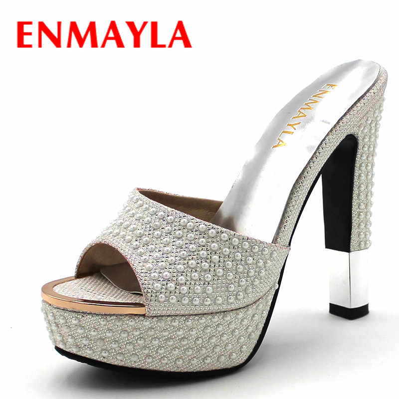 ENMAYLA Summer Shoes Woman High Heels Slippers Shoes Women Golden White Shoes Sexy Peep Toe Sandals Women Platform Shoes