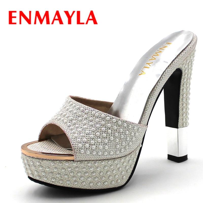 Këpucë verore ENMAYLA Grua pantallona të gjera me takë të lartë Këpucë Gratë Artë të Bardhë Këpucë Sexy Peep Toe Sandals Gratë Platforma Këpucë