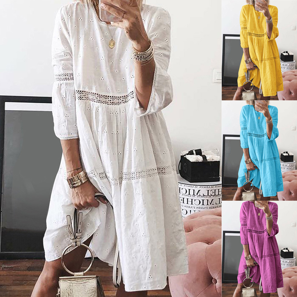 Autumn Bohemian Loose Dress Plus Size Women NEW Arrival Solid O-Neck Empire Hollow Out Splice 3/4 Sleeve Dress платье Wholesale