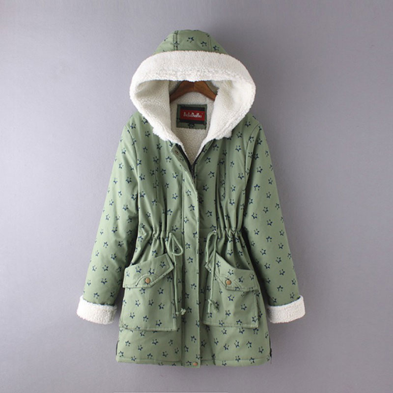 ФОТО Winter Parkas Hooded Quilted Jacket Coat Women Plus Size Stars Print Drawstring Waist Lambswool Overcoat Thick Warm Outerwear