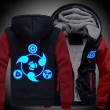 Winter Männer Frauen Anime NARUTO Akatsuki Cosplay Leuchtende Jacke Sweatshirts Verdicken Hoodie Mantel
