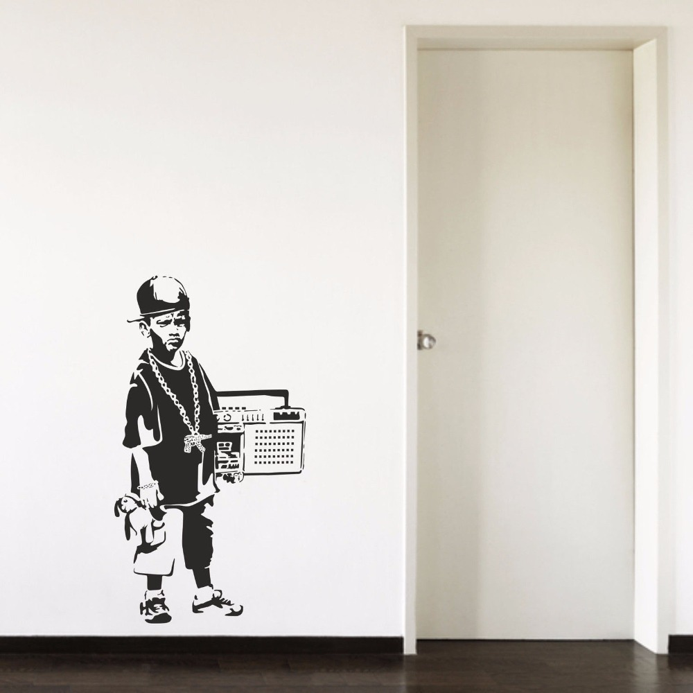 Banksy Hip Hop Boy Teenager Radio Cool Cap Hallway Bedroom Living room Home Window Decor Vinyl Art Wall Decal Sticker