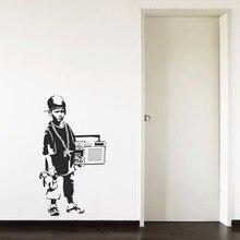 Banksy Hip Hop Boy Teenager Radio Cool Cap Hallway Bedroom Living room Home Window Decor Vinyl Art Wall Decal Sticker
