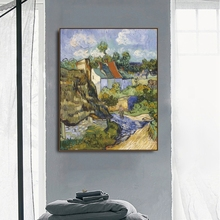 Houses in Auvers by Von Gogh Poster Print Canvas Painting Calligraphy Home Decor Wall Art Pictures for Living Room Bedroom elemental living contemporary houses in nature