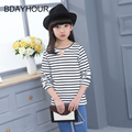Pearl Black And White Striped O-Neck Long-Sleeved Girl T-Shirts 2017 Summer New Listing Cotton Girls Casual Striped T-Shirts