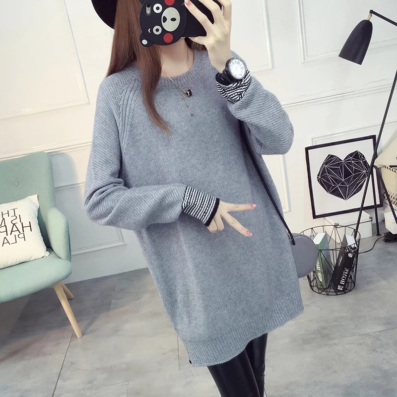 Maternity Clothes O-Neck winter knitted sweater Long sleeve loose pullover female Soft warm autumn casual Pregnancy Clothes fashion cotton padded maternity shirts autumn winter fashion thick knitted long sleeve pregnancy tops loose maternity clothes