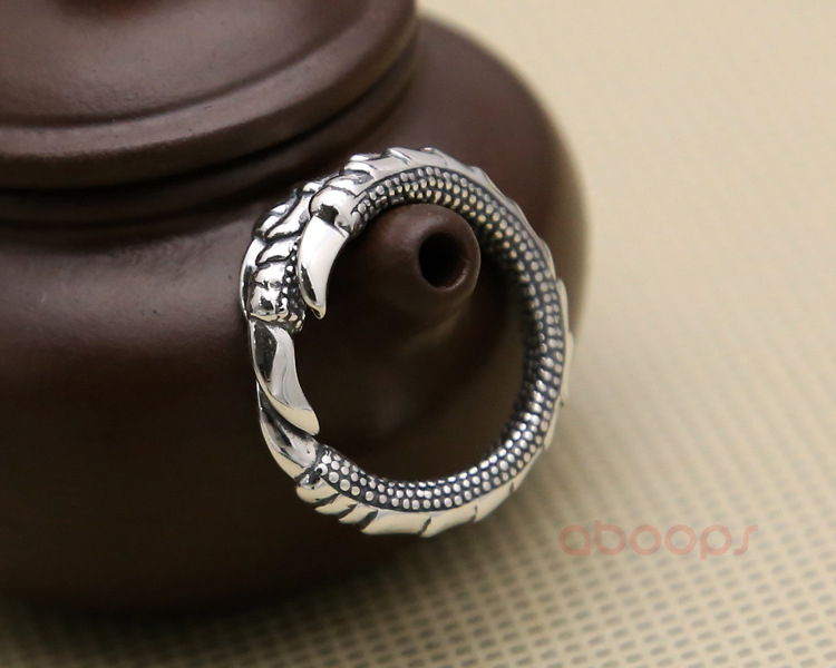 Two Tone 925 Sterling Silver Dragon Claw Pinky Open Ring for Men Women Adjustable Size 6 5 8 Free Shipping in Rings from Jewelry Accessories