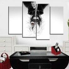 цена на One Set 4 Panel Canvas Painting Modular Art Anime Tokyo Ghoul Mask Ken Kaneki Pictures For Living Room Home Decor HD Print Style