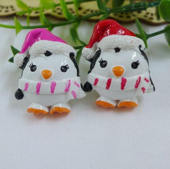50pcs Lot Hot Sell Christmas Penguin Resin Cabochon Flatback Girls