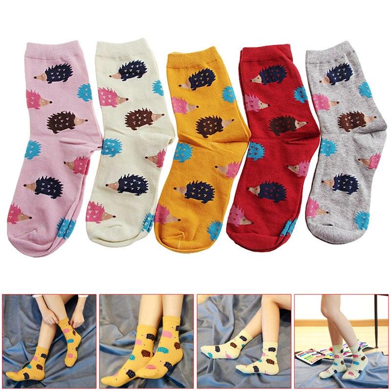 1 Pair Women Winter Warm Soft Cotton Blend 5colors Hedgehog Animal Cartoon Casual   Socks