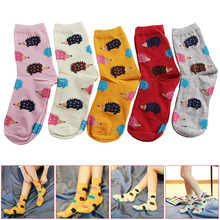 1 Pair Women Winter Warm Soft Cotton Blend 5colors Hedgehog Animal Cartoon Casual Socks