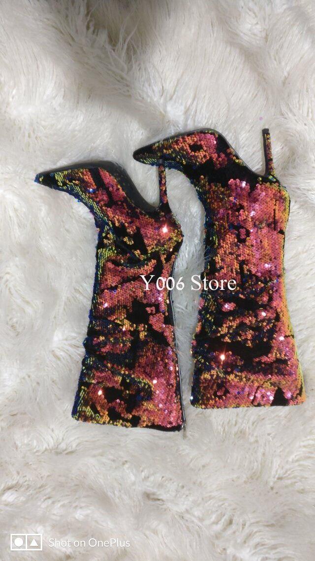 Multi Talon Bottes À Luxueux Dames Bling Femme Brillant Haute Talons La Femmes Mujer2019 Haut Pointu Chaussures De Botas Mode Nouveau Stiletto wRX1qw