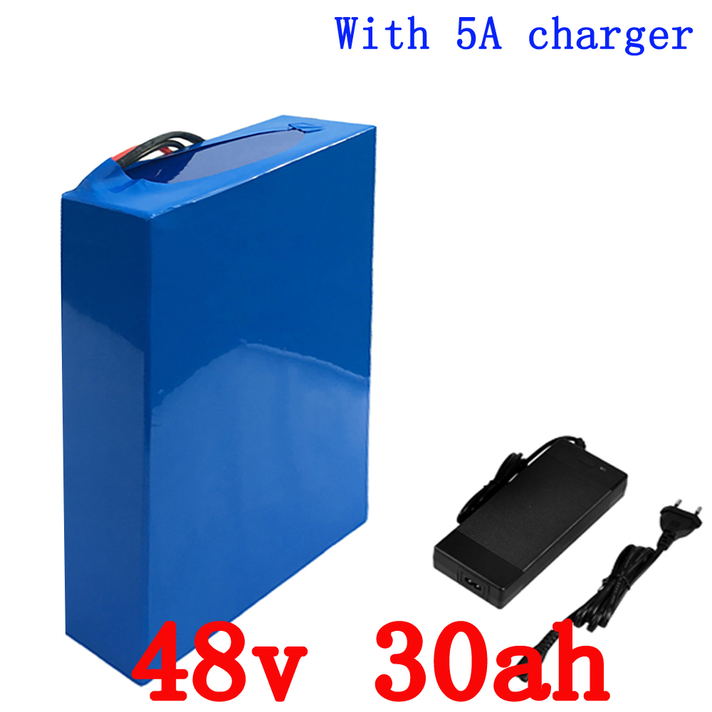 48V 2000W E-Bike Battery 48V 30AH 18650 Lithium ion Battery Pack 48V for Electric Bike With 54.6V Charger 50A BMS Battery rechargeable 8 4v 4400mah 18650 battery pack for bike light black