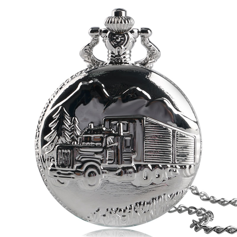 Modern Truck Van Pattern Necklace For Women Men Quartz Pocket Watch Steampunk Watches Father Driver Pendant Best Birthday Gifts