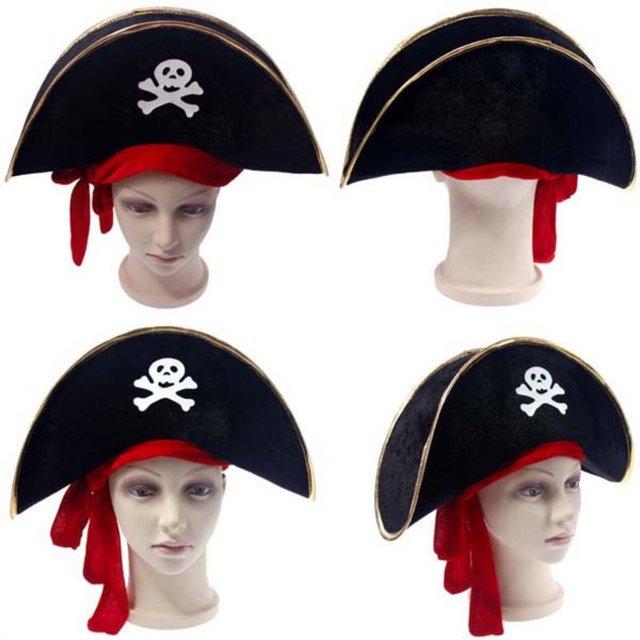 Accessori di Halloween Del Cranio Del Cappello Caraibico Cappello Da Pirata  Pirateria Cappelli Corsair Cap Puntelli 32ae824c8035