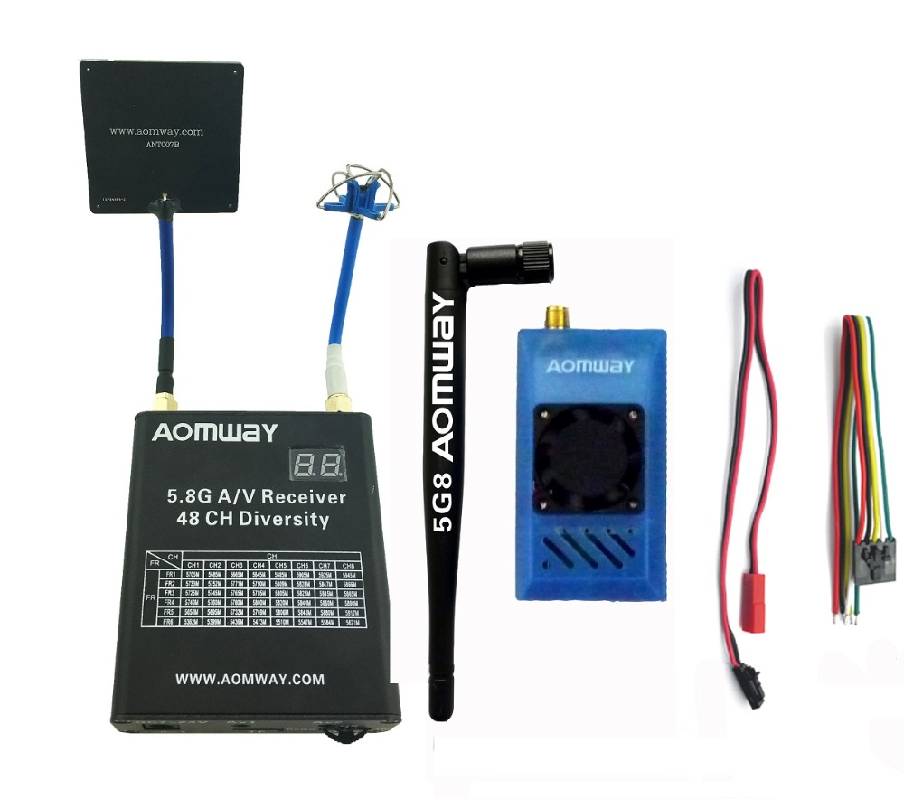 Aomway FPV 5 8Ghz 1000mW 1W 48CH AV Audio Video Transmitter and Receiver with DVR Recorder