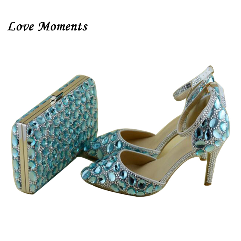 Sky Blue Luxury Rhinestone wedding shoes with matching bag anckle strap shoes woman pointed toe high
