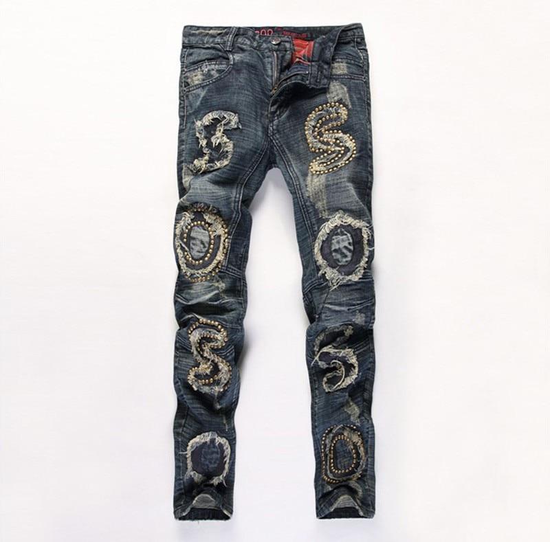 ФОТО Original Designer Mens Rivet Ripped Jeans 100% Cotton Brand Designer Denim Joggers For Men Distressed Jeans Pants With Holes